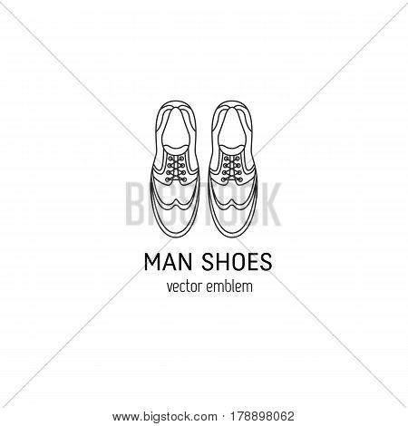 Vector logo design for man shoes shop. Man shoes isolated on white background. Outline icon for online shoes shop, shoeshine service, shoe repair service in trendy linear style.