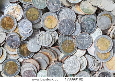 Thai baht coins. Coins of Thailand. Many of Thai baht coins background.