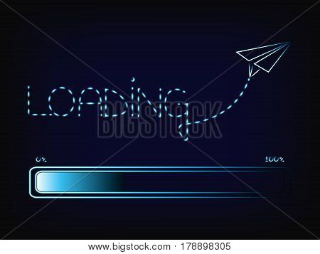 vector progress bar with text Loading made by a paper airplane trail dashed lines and glowing light streak effect on mesh background
