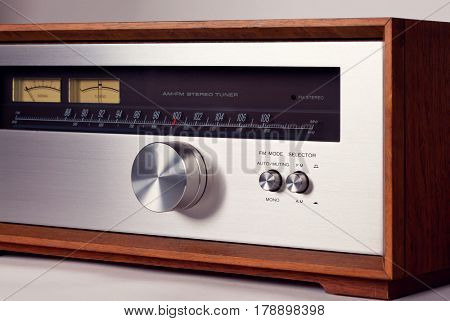 Vintage Stereo Audio Tuner Radio Tuning Knob closeup