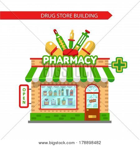 Vector flat style illustration of pharmacy shop building. Signboard with big syringe, pipette, tablets, thermometer. Showcase with pills and potions. Isolated on white background.