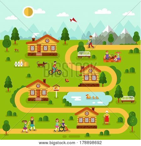 Flat design vector landscape illustration of cartoon village map with houses, pond, road, mountains. People resting in nature on picnic, old woman walking, boy cycling. Rest in the mountain concept.
