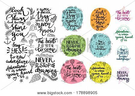 Vector set of inspirational quotes. Thematic phrases.