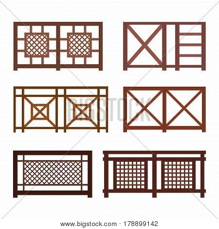 wooden fences and gate on white background wooden fence set carved patterns fences for landscape design