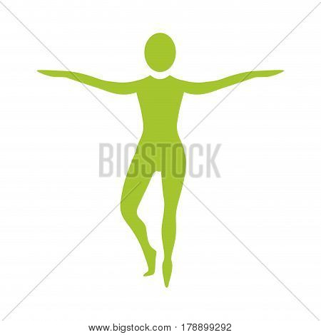 silhouette woman on tiptoes vector illustration design