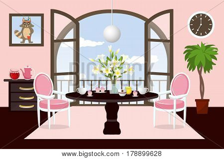 Living room and dining room with furniture. Flat style vector illustration.