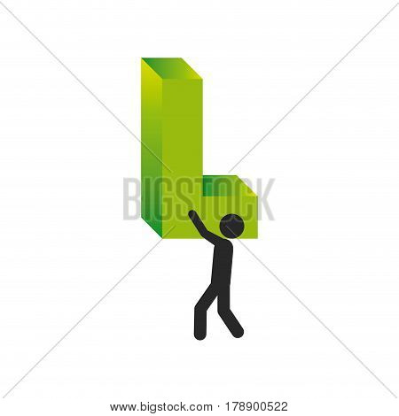 person with l symbol in his shoulders, vector illustration design