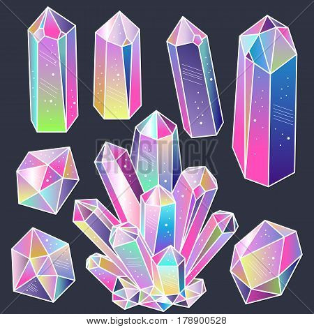 Magic fairytale crystals stickers set. Colorful cartoon gems. Vector illustration elements for design.