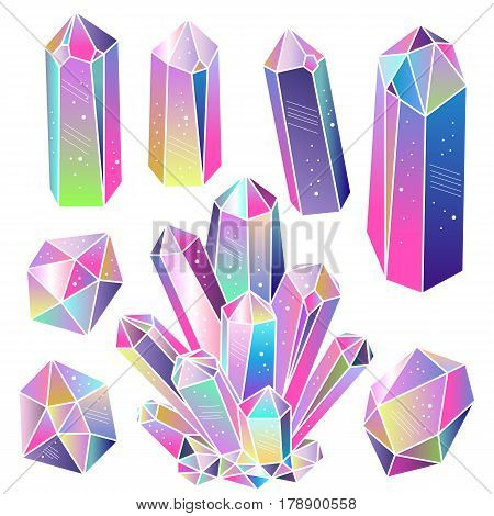 Magic fairytale crystals isolated. Multicolored rainbow gradient gems set. Vector elements.