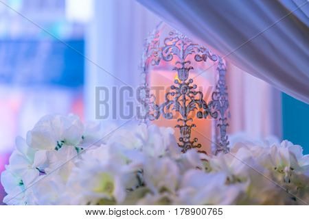 lanterns with candle in  wedding stage decoration
