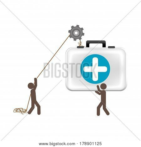 people with pulleys hanging the aid kit, vector illustration