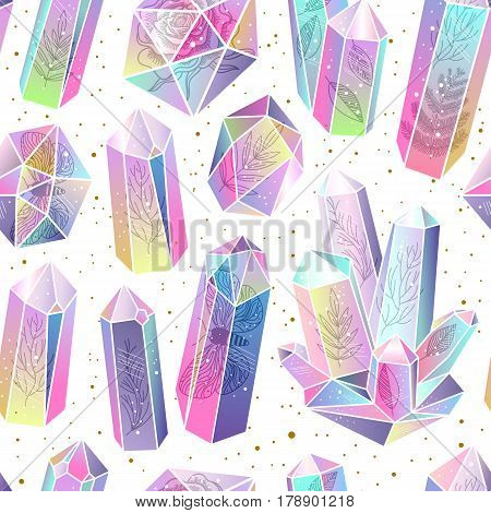 Seamless pattern with rainbow crystals. Leafs moss moths rose inside gems. Transparent colored stones or terrariums golden splashes. Magic witching background. Vector illustration.