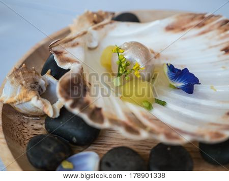 Art food, Andaman pearl with crabmeat, ginger and apple