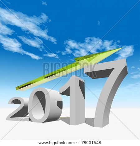 Conceptual 3D illustration green 2017 year symbol with an arrow on blue sky white background