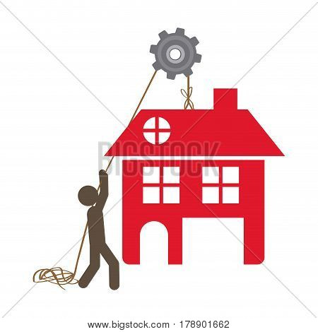 person with pulleys hanging the house, vector illustration design