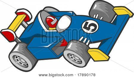 Blue Race Car Vector Illustration