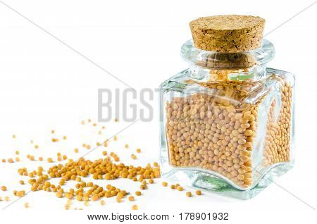 Dry mustard seeds in glass bottle and heap of mustard isolated on white background. Closeup macro shot.