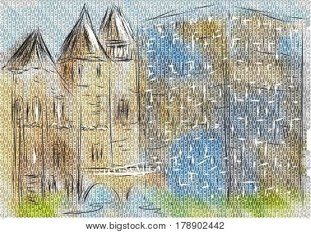 utrecht. abstract illustration of city on multicolor background