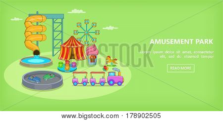 Amusement games horizontal banner concept. Cartoon illustration of amusement games vector horizontal banner for web