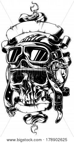 A vector illustration of detailed human skull in retro helmet with white ribbons tattoo