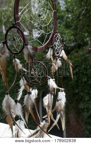 Brown dream catcher with green leaves as background