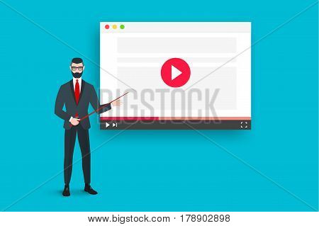 Online Education Illustration With Abstract Web Browser And Business Coach Near The Video Player. Flat Vector Concept.