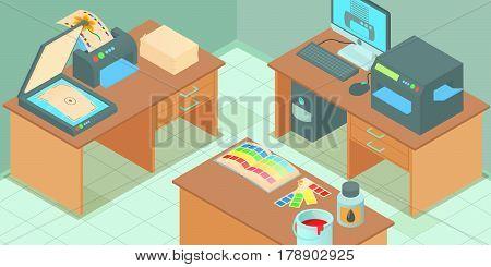 Printing process horizontal banner concept. Cartoon illustration of printing process vector horizontal banner for web
