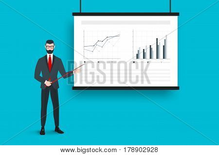 Business Presentation On The Projector Screen With Absract Graphs And Trendy Coach. Flat Vector Concept.