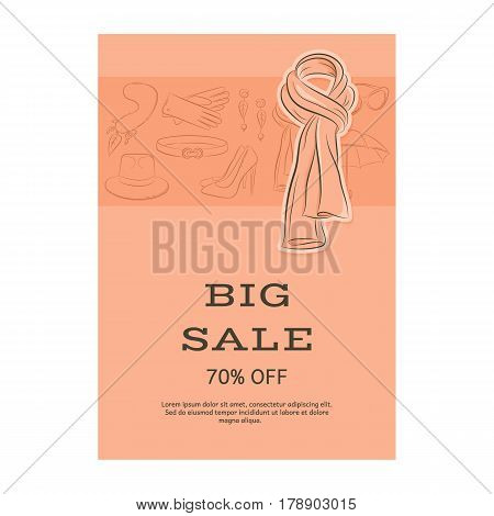 Big Sale Template Banner. Pattern Of Accessories And A Scarf. Orange Shades. Vector Illustration In