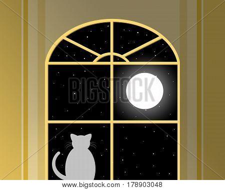 A cat looks through a window as an Illustration. Full moon.