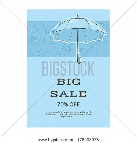 Big Sale Template Banner. Pattern Of Accessories And An Umbrella. Blue Shades. Vector Illustration