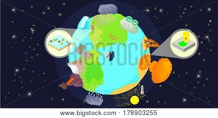 Disaster globe horizontal banner concept. Cartoon illustration of disaster globe vector horizontal banner for web
