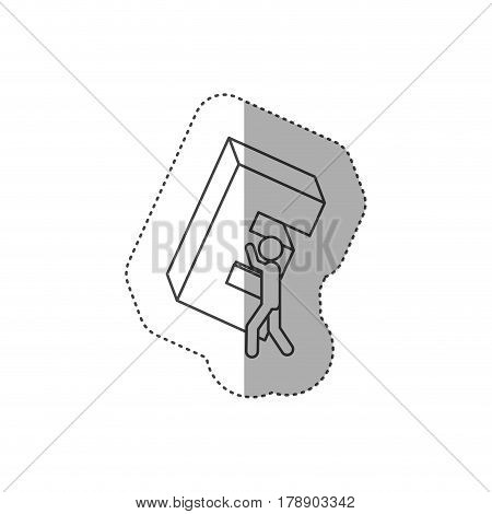figure person with e symbol in his hands, vector illustration design