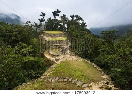 The Lost City (Ciudad Perdida) ruins in the Sierra Nevada de Santa Marta Colombia