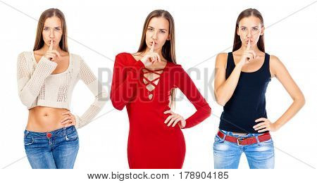 Collage. Woman requires silence. Young beautiful blonde woman has put forefinger to lips as sign of silence, isolated on white