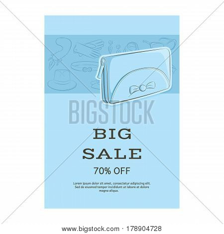 Big Sale Template Banner. Pattern Of Accessories And A Wallet Or Clutch. Blue Shades. Vector Illustr