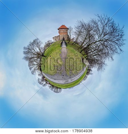 Spherical panorama of castle Chudow in a form of little planet.