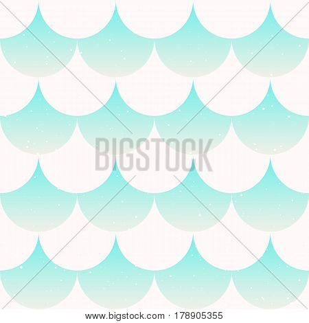 Fish scale background. Tender seamless pattern in mint and white color. Japanese motif. Vector illustration perfect for fabric wallpaper and wrap.