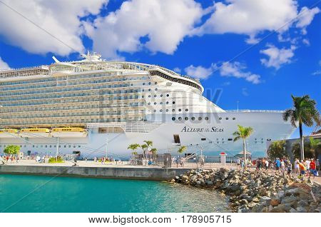 ST. THOMAS, US VIRGIN ISLANDS - APRIL 04,2015:  Cruise ship Allure of the Seas, docked at St Thomas, on sunny day.
