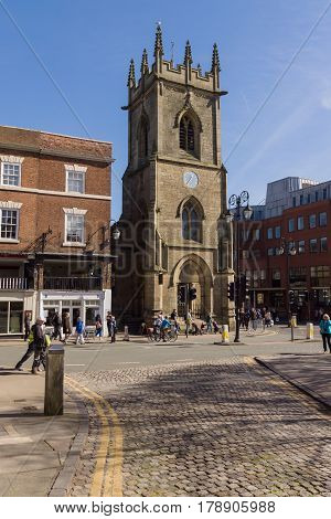 Chester England UK - March 25 2017: St Michael's church on the corner or Bridge Street is a disused church built in 1582 now converted to house the heritage centre and a museum and is a designated Grade II listed building