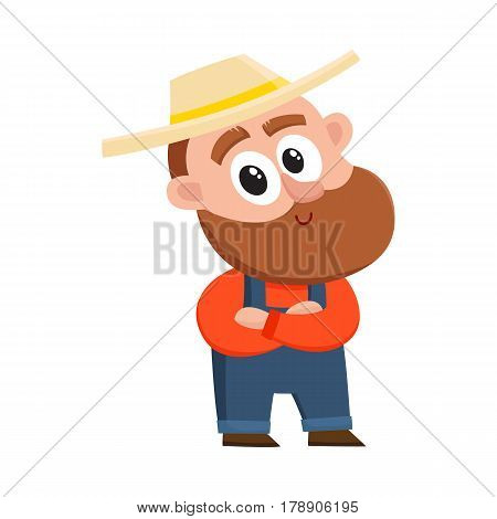 Funny farmer, gardener character in straw hat and overalls standing with arms crossed on breast, cartoon vector illustration isolated on white background. Comic farmer character, design elements