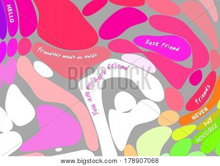 Colored bubble background with inspirational quotes about friendship over grey background