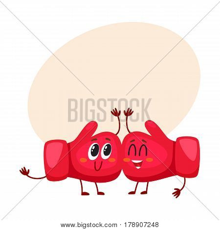 Funny couple of red boxing glove characters with smiling human face, cartoon vector illustration with place for text. Two smiling boxing glove characters as close friends, sport equipment