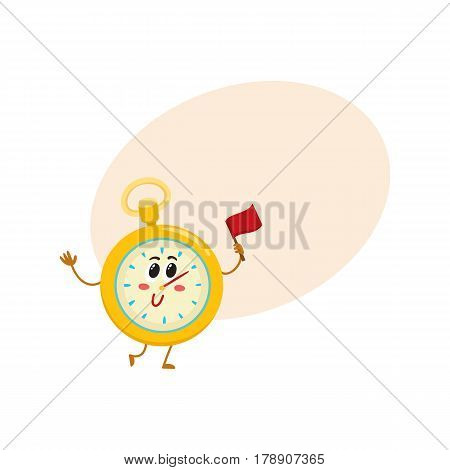 Funny stopwatch, timer, timekeeping character with smiling human face, sport equipment cartoon vector illustration i with place for text. Smiling stopwatch, timer, timekeeping character