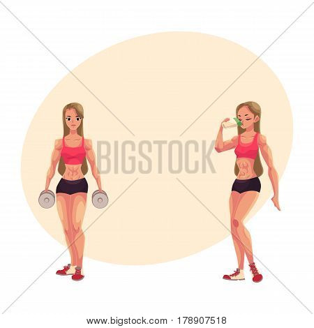 Woman bodybuilder, weightlifter holding dumbbells and drinking protein shake, cartoon vector illustration with place for text. Woman bodybuilder with dumbbells and drinking protein