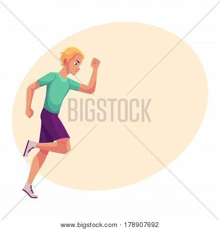 Young and handsome male runner, sprinter, jogger, cartoon vector illustration with place for text. Man running, sprinter, track and field, healthy lifestyle concept