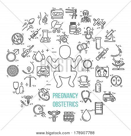 Pregnant and obstetrics concept with different obstetrics elements and other gynecological research vector symbols isolated on background. Perfect illustration for flyer or banner.