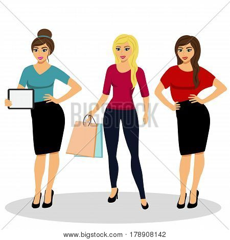 Collection of girls. A modern girl. Girl with ipad. Girl with shopping. Isolated objects. Vector illustration.