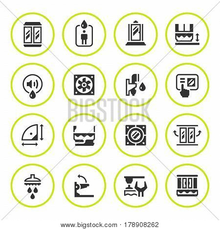 Set round icons of shower cabin isolated on white. Vector illustration