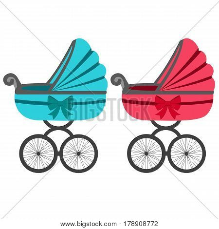 Baby carriage. A boy and a girl. Stroller for toddler icon. Vector illustration.